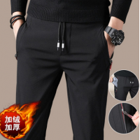 冬季男士休闲裤男生宽松厚款修身黑色小脚运动裤子男韩版潮流加绒