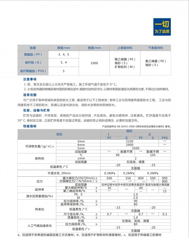 弹性体(SBS)改性沥青防水卷材详情2